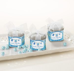 It's a Boy Personalized Baby Shower Favor Tins with Bows (Printed Label)