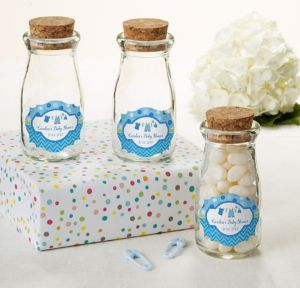 It's a Boy Personalized Baby Shower Glass Milk Bottles with Corks (Printed Label)
