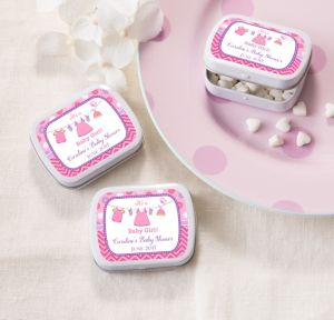 It's a Girl Personalized Baby Shower Mint Tins with Candy (Printed Label)