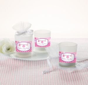 It's a Girl Personalized Baby Shower Glass Votive Candle Holders (Printed Label)