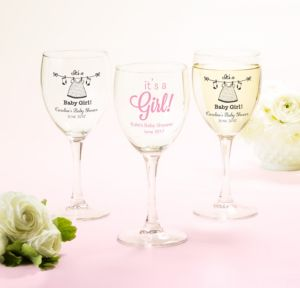 It's a Girl Personalized Baby Shower Wine Glasses (Printed Glass)