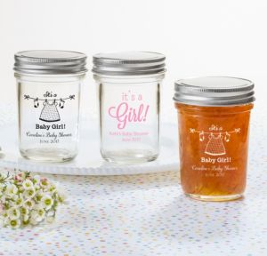 It's a Girl Personalized Baby Shower Mason Jars (Printed Glass)