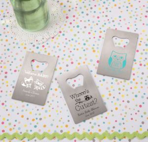 Woodland Personalized Baby Shower Credit Card Bottle Openers - Silver (Printed Metal)