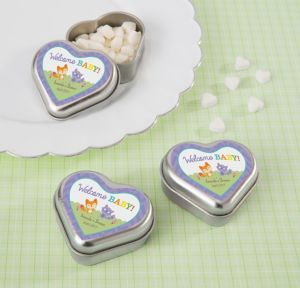 Woodland Personalized Baby Shower Heart-Shaped Mint Tins with Candy (Printed Label)