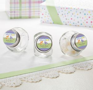 Woodland Personalized Baby Shower Glass Candy Jars (Printed Label)