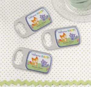 Woodland Personalized Baby Shower Bottle Openers - Silver (Printed Epoxy Label)