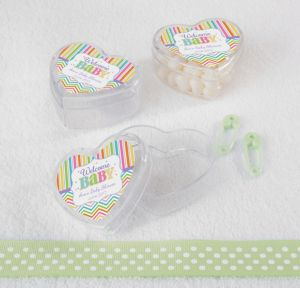 Bright Chevron Personalized Baby Shower Heart-Shaped Plastic Favor Boxes (Printed Label)