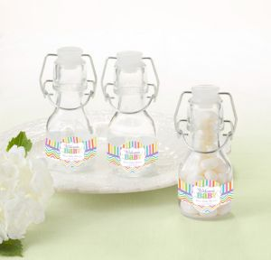Bright Chevron Personalized Baby Shower Glass Swing Top Bottles (Printed Label)
