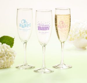 Bright Chevron Personalized Baby Shower Champagne Flutes (Printed Glass)