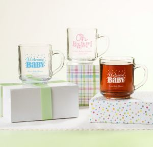 Bright Chevron Personalized Baby Shower Glass Coffee Mugs (Printed Glass)