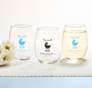 Blue Stroller Personalized Baby Shower Stemless Wine Glasses 15oz (Printed Glass)