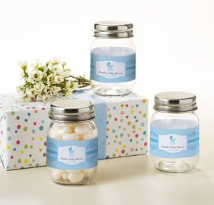 Blue Stroller Personalized Baby Shower Mini Glass Mason Jars (Printed Label)