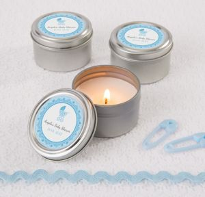 Blue Stroller Personalized Baby Shower Candle Tins (Printed Label)