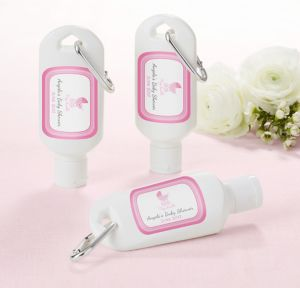 Pink Stroller Personalized Baby Shower Sunscreen Favors (Printed Label)