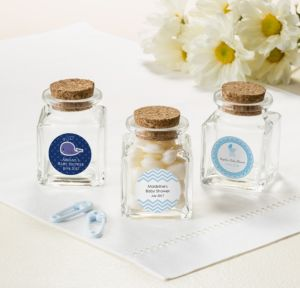 Ahoy Nautical Personalized Baby Shower Small Glass Bottles with Corks (Printed Label)