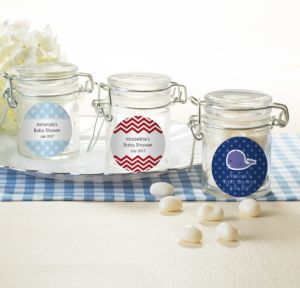 Ahoy Nautical Personalized Baby Shower Small Glass Jars (Printed Label)