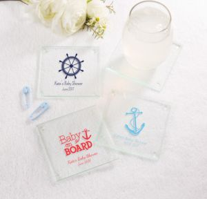 Ahoy Nautical Personalized Baby Shower Glass Coasters (Printed Glass)