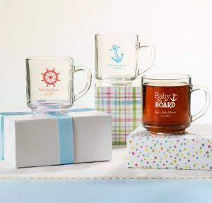 Ahoy Nautical Personalized Baby Shower Glass Coffee Mugs (Printed Glass)