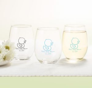 Bubble Bath Personalized Baby Shower Stemless Wine Glasses 15oz (Printed Glass)