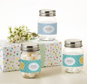 Bubble Bath Personalized Baby Shower Mini Glass Mason Jars (Printed Label)