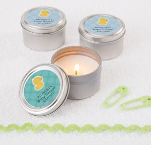 Bubble Bath Personalized Baby Shower Candle Tins (Printed Label)