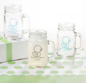 Bubble Bath Personalized Baby Shower Mason Jar Mugs (Printed Glass)