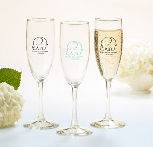 Little Peanut Boy Personalized Baby Shower Champagne Flutes (Printed Glass)