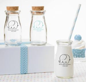 Little Peanut Boy Personalized Baby Shower Glass Milk Bottles (Printed Glass)