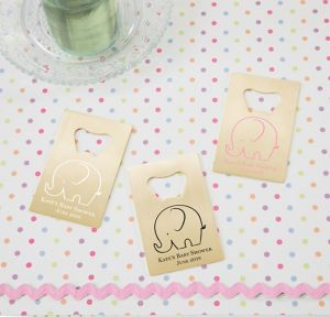 Little Peanut Girl Personalized Baby Shower Credit Card Bottle Openers - Gold (Printed Metal)