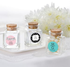 Personalized Small Glass Bottles with Corks <br>(Printed Label)</br>