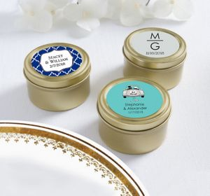 Personalized Round Candy Tins - Gold <br>(Printed Label)</br>