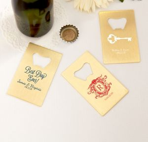 Personalized Credit Card Bottle Openers - Gold <br>(Printed Metal)</br>