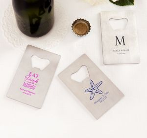 Personalized Credit Card Bottle Openers - Silver <br>(Printed Metal)</br>