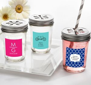 Personalized Mason Jars with Daisy Lids  <br>(Printed Label)</br>