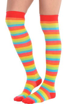 Rainbow Striped Knee High Socks