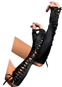Black Ribbon Lace-Up Fingerless Gloves