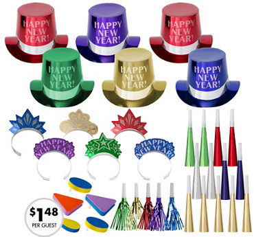 Kit For 25 - Get The Party Started - Colorful New Year's Party Kit