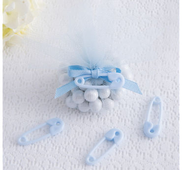 Blue Safety Pin Baby Shower Favor Charms 24ct