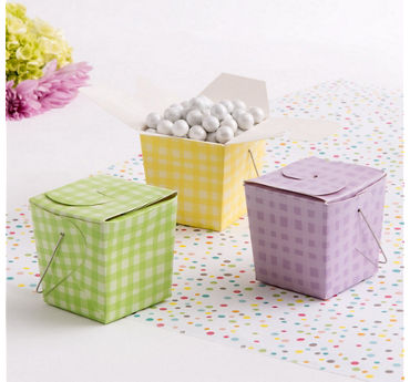 Pastel Plaid Take-Out Style Favor Boxes 12ct