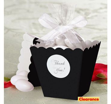 Black Popcorn Box Wedding Favor Kit 50ct
