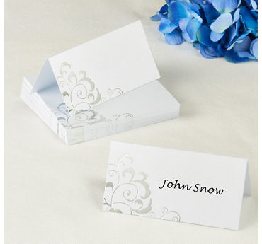Silver Swirl Wedding Place Cards 50ct