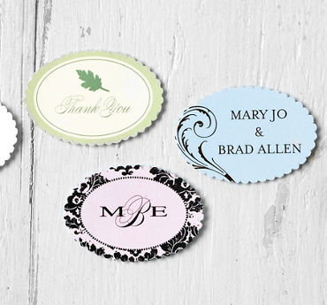 Printable Scallop Oval Favor Tags