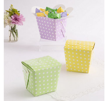 Multicolor Polka Dot Take-Out Style Favor Boxes 12ct