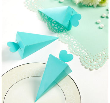 Robin's Egg Blue Cone Favor Boxes 50ct