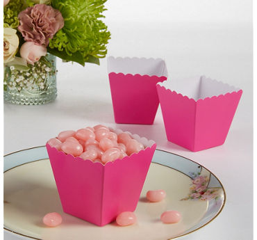 Bright Pink Scalloped Favor Boxes 100ct