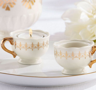 Gold Teacup Tealight Candle Holders