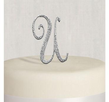 Rhinestone Silver Monogram U Cake Topper