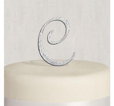 Rhinestone Silver Monogram C Cake Topper