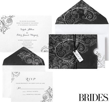 Chalkboard Scroll Pocket Printable Wedding Invitations Kit 30ct