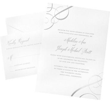 Metallic Silver Swirl Printable Wedding Invitations Kit 50ct